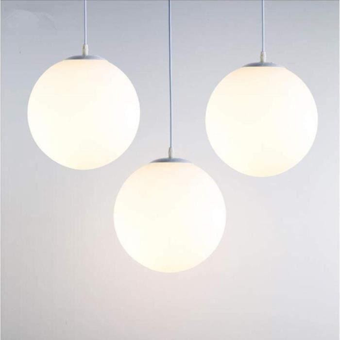 Suspensions Lampe Suspension Moderne en Verre Brillant Blanc 25 CM Lustre Boule en Verre Moderne Mode LED Luminaire Suspension D305