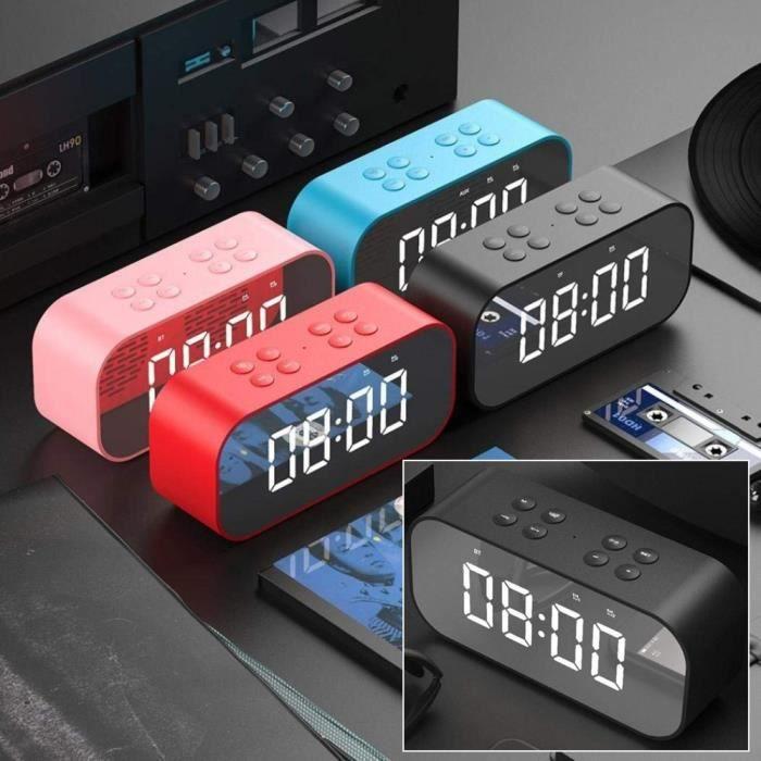 Réveil Horloge Digital Avec Lecteur Usb Carte Tf Haut-Parleur Bluetooth Sans Fil