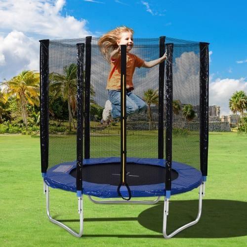 Trampoline d'extérieur, avec porte de sécurité et ceinture tampon, 6 pieds de long, peut supporter 80 kg
