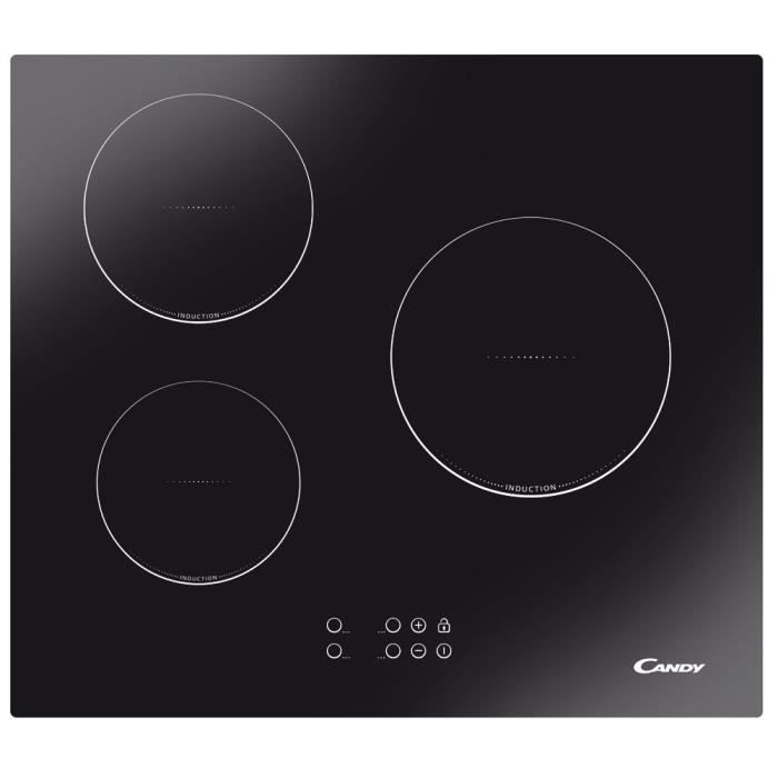 CANDY CTI300 - Table de cuisson induction - 3 zones - 5300W - L59 x P 52cm - Revêtement verre - Noir