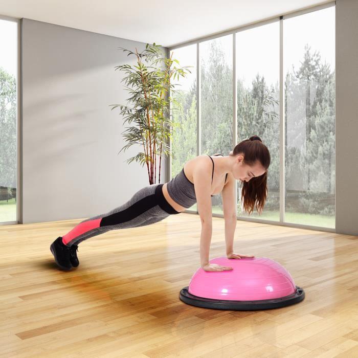 GIANTEX Ballon d'équilibre Φ59 CM avec 2 Cordes Élastiques Pompe de Main pour Fitness, Formage,Yoga,Capacité de Charge 200KG