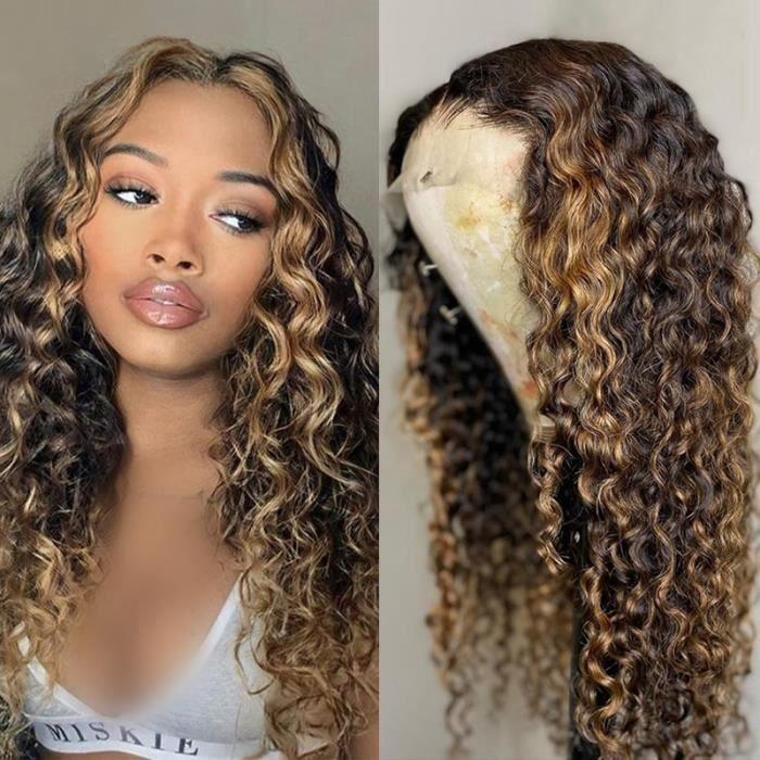 28'' Perruque de cheveux humains bouclés 13X4 T partie perruque de dentelle brésilien couleur marron cheveux humains