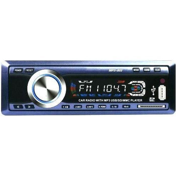 Autoradio voiture -usb mp3 lecteur de carte sd fm avec télécommande - modéle 603