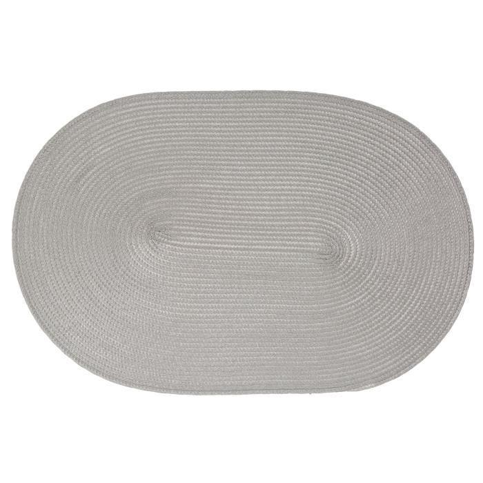Set de table Tressé Ovale - 44 x 29 cm - Gris clair