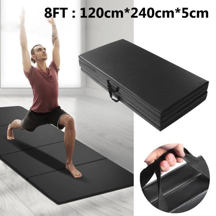 TEMPSA Tapis Gymnastique 240CM Sol Pliable Natte Fitnesse Gym Matelas Portable Yoga NOIR