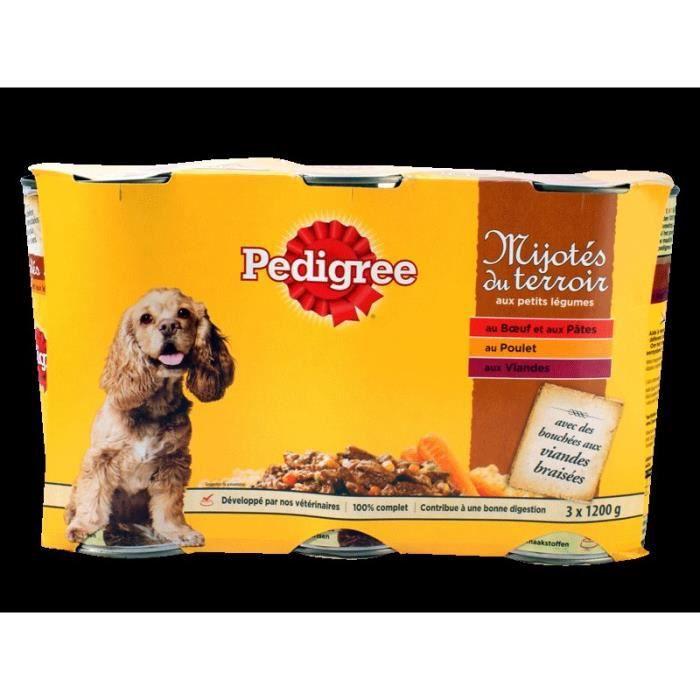 PEDIGREE - Mijotés aux Légumes et viandes - Pour les chiens - 3x1,2KG