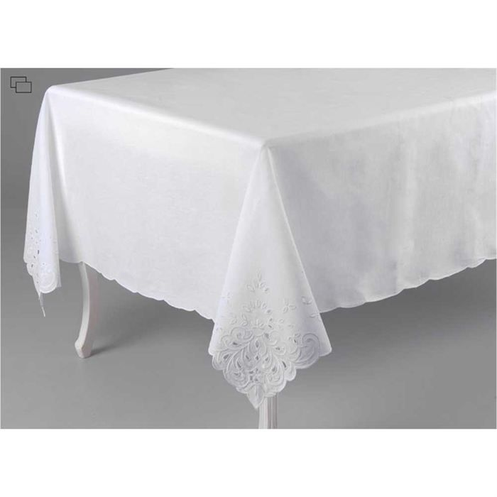 nappe rectangulaire blanche achat vente nappe de table cdiscount. Black Bedroom Furniture Sets. Home Design Ideas