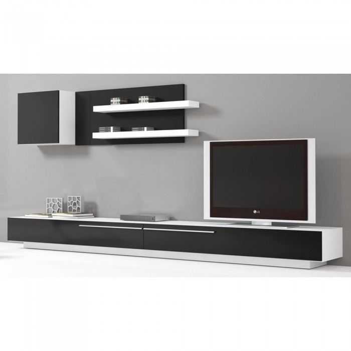 meuble tv mural slim mati re m lamine couleur n achat vente meuble tv meuble tv mural slim. Black Bedroom Furniture Sets. Home Design Ideas