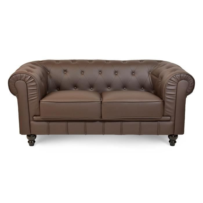 Canap 2 places marron chesterfield achat vente canap for Canape 2 places marron