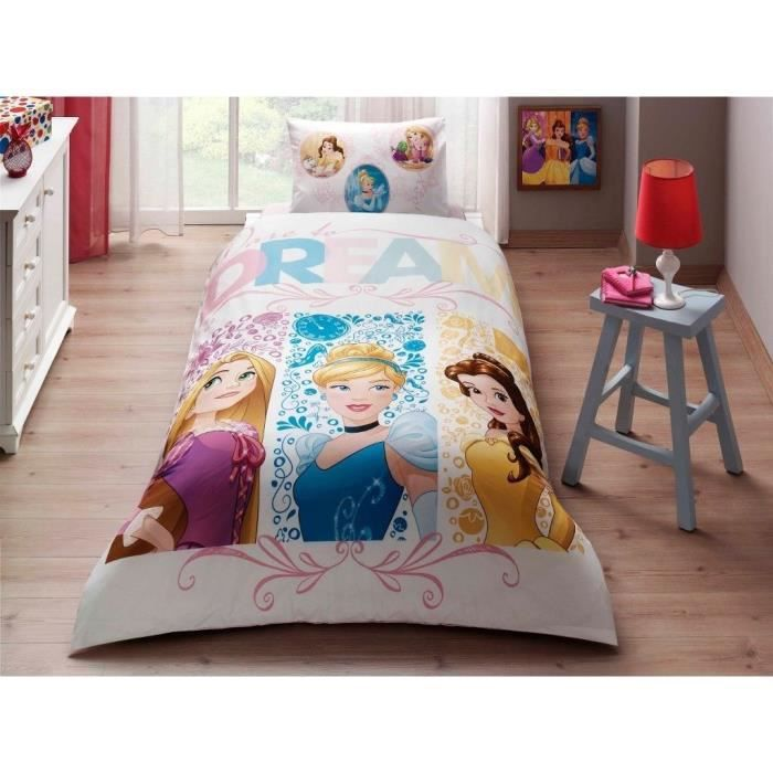 Parure De Lit Disney Princess Dream 1 Personne 100 Coton 3 Pcs