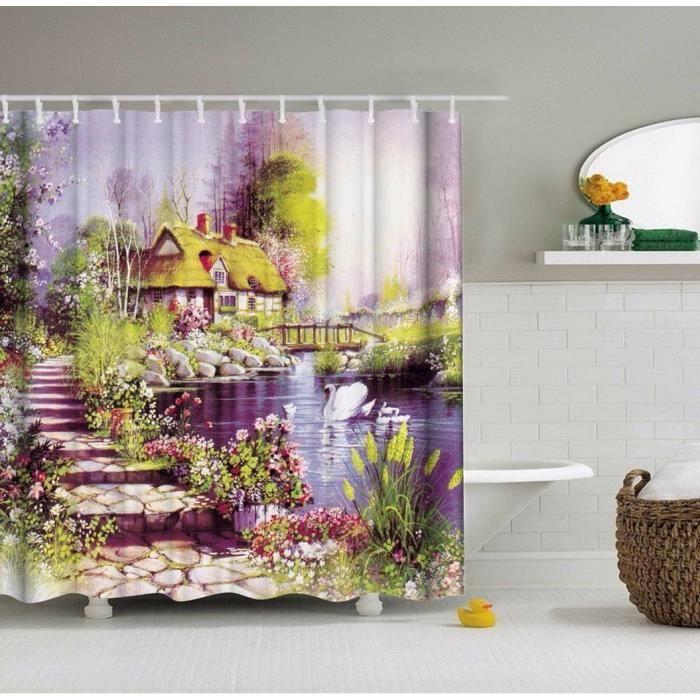 RIDEAU DE DOUCHE 33-Rideau douche Nature Fée Paysage Paysage Maison