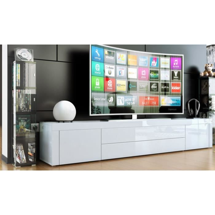 meuble tv bas blanc laque achat vente meuble tv bas. Black Bedroom Furniture Sets. Home Design Ideas