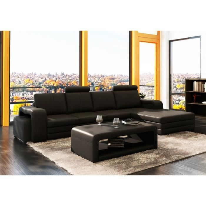 canap d 39 angle moderne en cuir noir table bass achat vente canap sofa divan cuir. Black Bedroom Furniture Sets. Home Design Ideas
