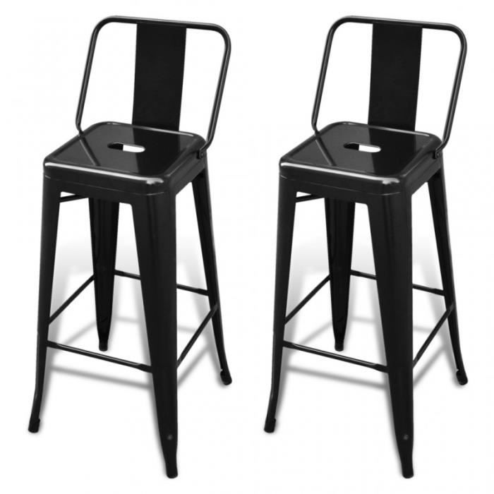 lot de 2 tabourets de bar en acier noir 1202008 achat vente tabouret de bar noir soldes. Black Bedroom Furniture Sets. Home Design Ideas