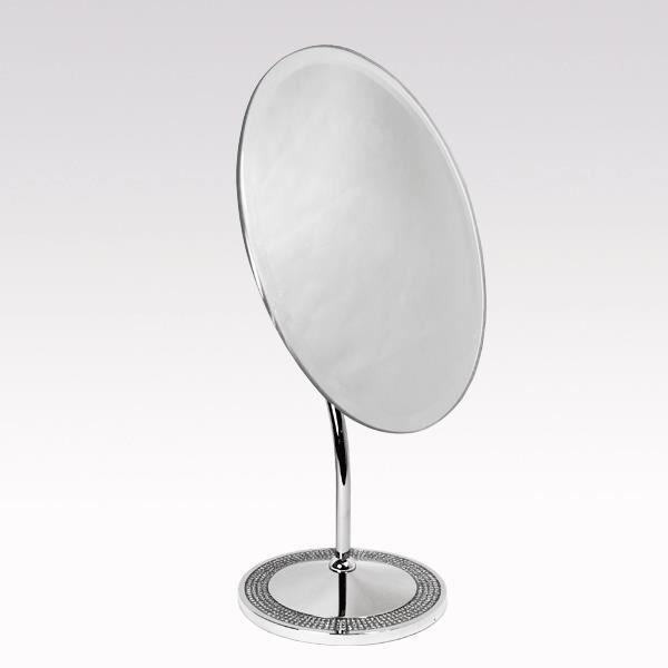 Miroir ovale sur pied strass luxe achat vente miroir for Miroir ovale sur pied