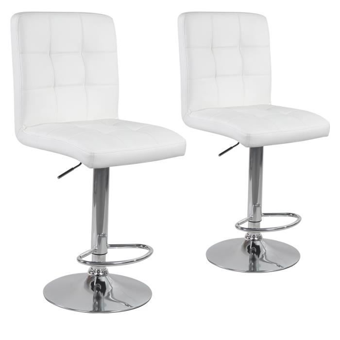 lot de 2 tabourets de bar max blanc achat vente tabouret de bar blanc cdiscount. Black Bedroom Furniture Sets. Home Design Ideas