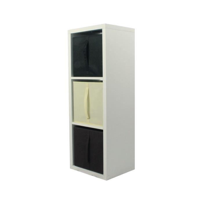 MEUBLE ÉTAGÈRE COMPO Meuble De Rangement 3 Cases + 3 Cubes Choco/