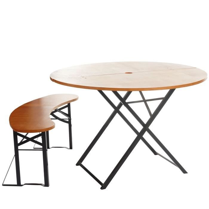 ENSEMBLE TABLE RONDE + 1 BANC DE JARDIN PLIANTS OTTO - BOIS NATUREL ...