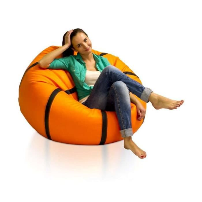 justhome basketball xxl pouf g ant en polystyr ne couleur orange achat vente pouf poire. Black Bedroom Furniture Sets. Home Design Ideas