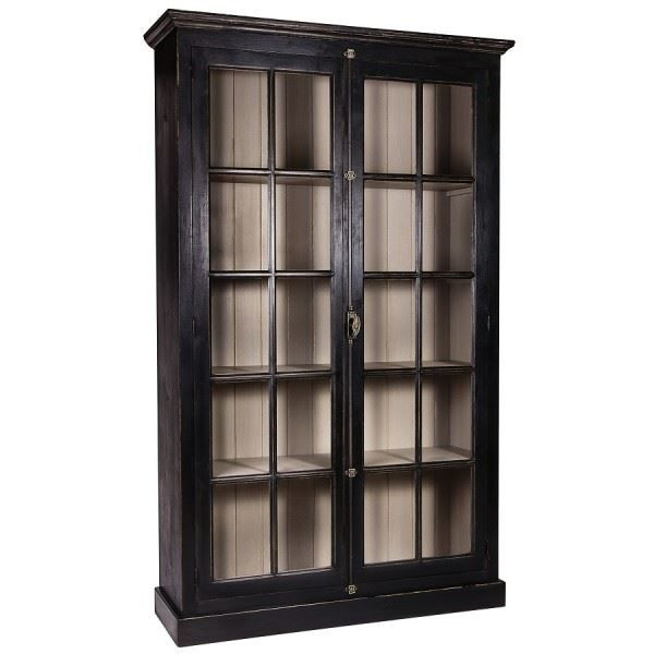 vitrine argentier hilda pin massif noir l 13 achat vente vitrine argentier vitrine. Black Bedroom Furniture Sets. Home Design Ideas