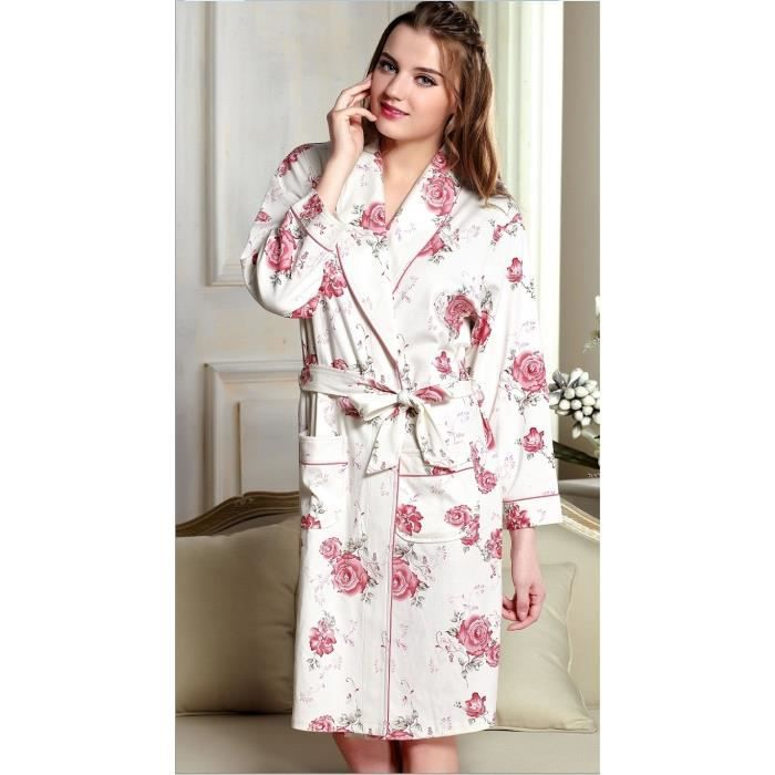 robe de chambre 100 coton femme blanche rose avec motif. Black Bedroom Furniture Sets. Home Design Ideas