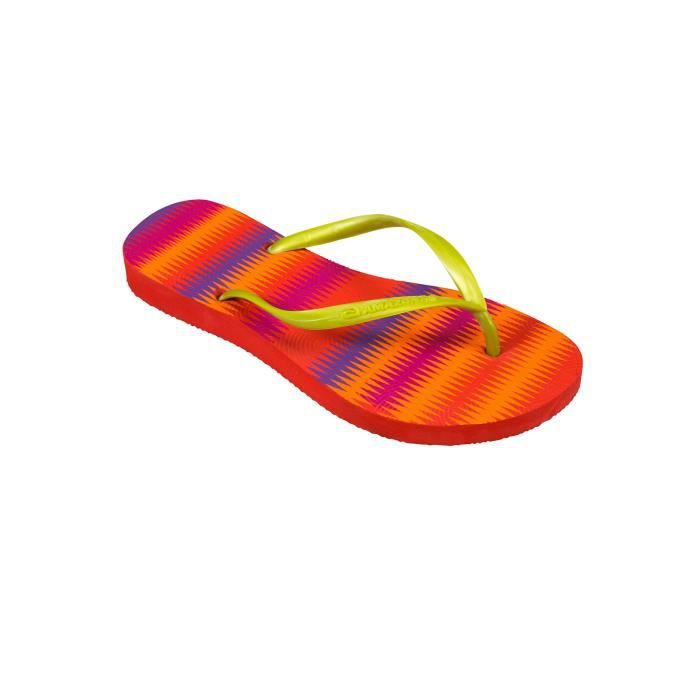 Tongs femme Amazonas Enjoy Coloracao Missioni Rouge, Orange et Doré