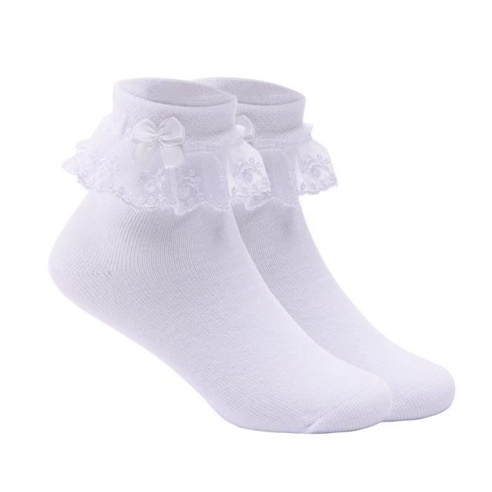 Blanc Dentelle Lot de 6 paires de chaussettes pour b/éb/é//fille