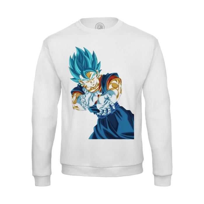 Sweat Shirt Enfant Dragon Ball Super Vegeta Super Saiyan Cheveux Bleus Kameha