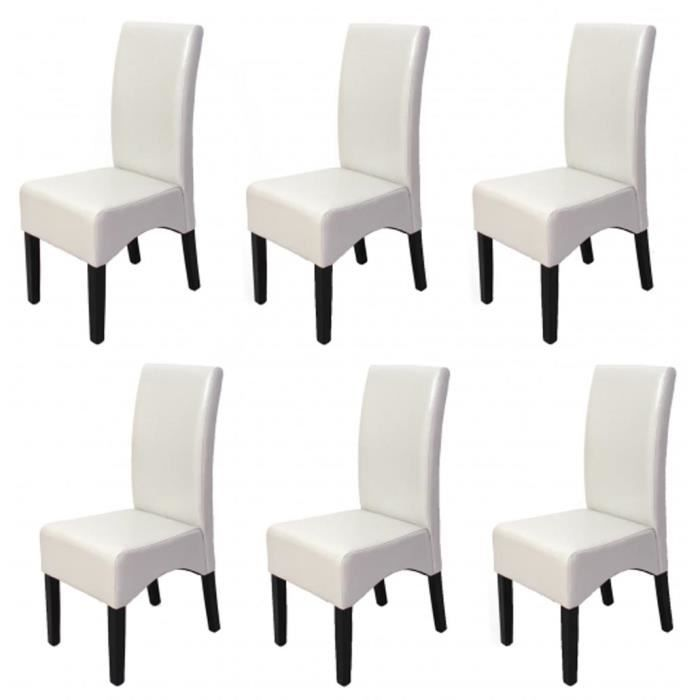 lot de 6 chaises de salle manger latina en cuir coloris blanc pattes fonc es achat vente. Black Bedroom Furniture Sets. Home Design Ideas