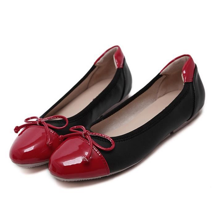 Tomwell Confortable Chaussures Femme Bowknot Ballerines Tête Ronde Couleur Mixte Plat Chaussons Ohrqa1U6S