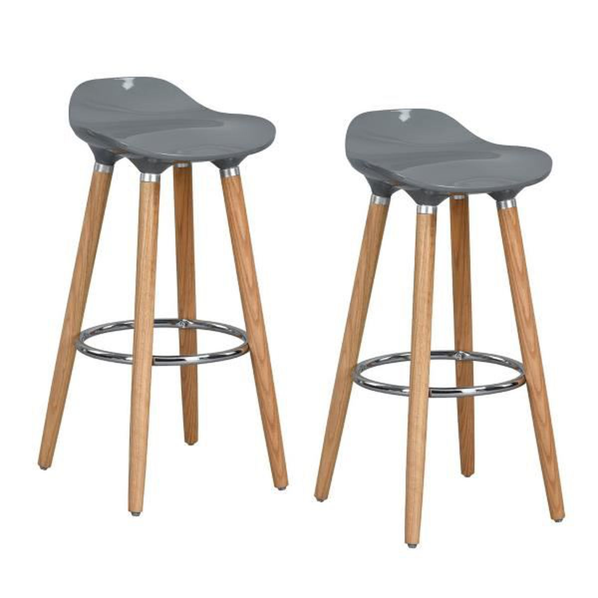 Furniturer lot de 4 tabourets de bar cuisine scandinaves chaises de bar haute - Lot 4 tabouret de bar ...