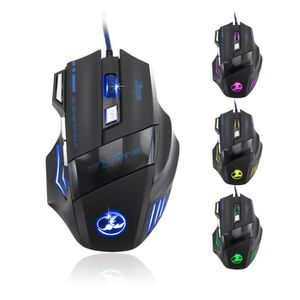 SOURIS 5500 DPI 7 Bouton optique USB LED souris Wired Gam