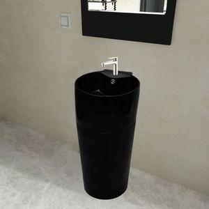 LAVABO - VASQUE Vasque à trou de trop-plein-robinet céramique Noir