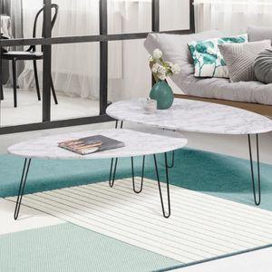 TABLE BASSE Lot de 2 tables basses gigognes effet marbre pieds
