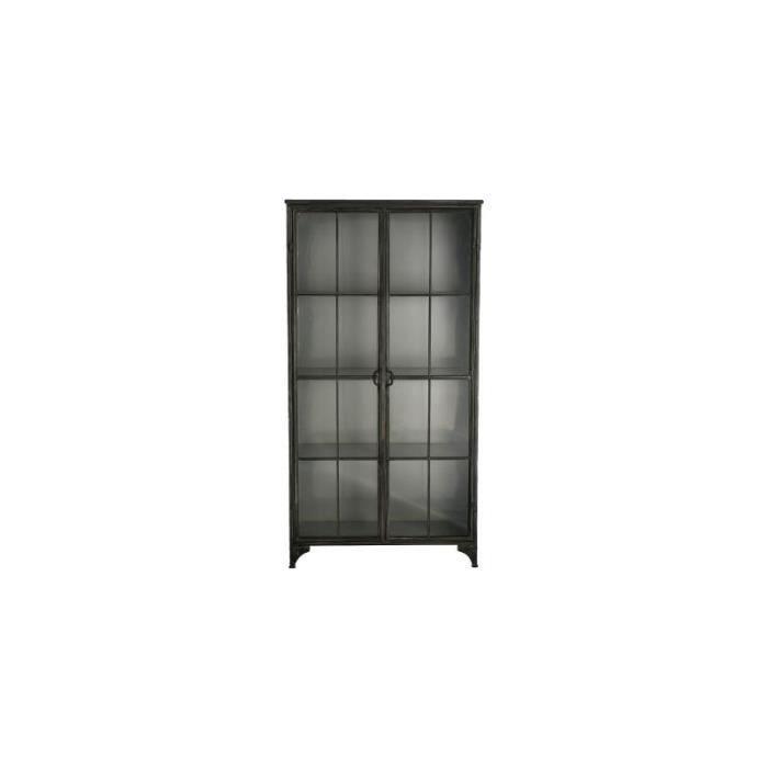 Bibliothèque Broc 2 portes - 97 x 39 x 187 cm - Métal - Gris 39 cm