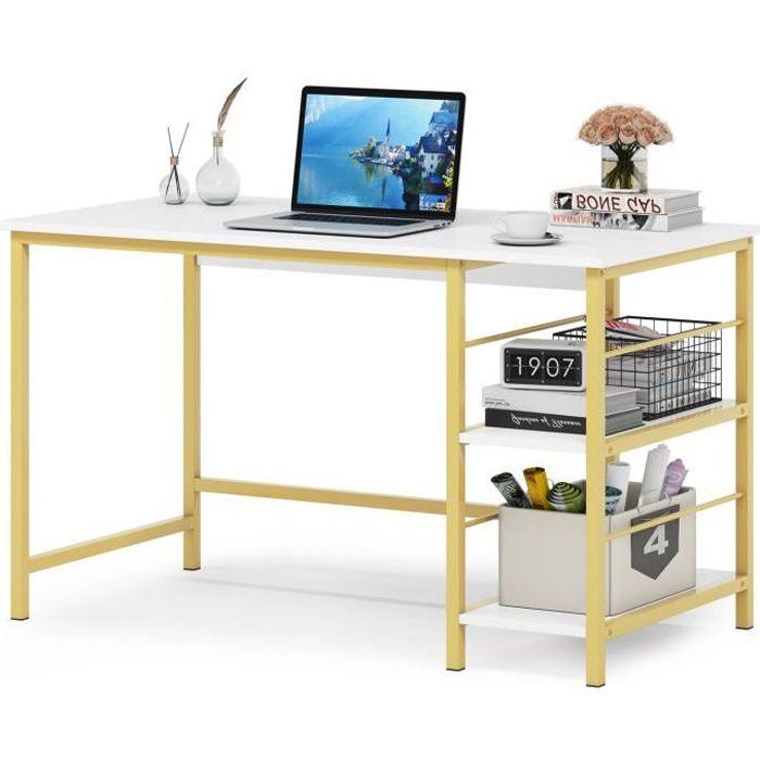 Lanxin Bureau d'ordinateur avec étagère de rangement à 2 niveaux moderne station de travail pour bureau à domicile, blanc et doré