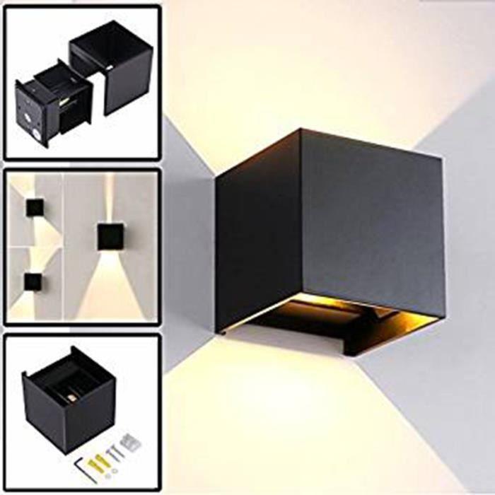 12W Led Applique Murale Exterieur / Interieur Noire, Anti-Eau IP65 Réglable Lampe Up and Down Moderne Design 3000K Blanc Chaud