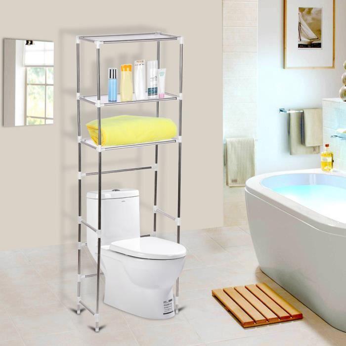 DBA-Meuble WC étagère de toilette à 3 niveaux blanc 160 * 53cm