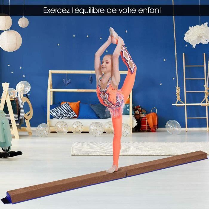 Poutre de Gymnastique Pliable Poutre d'équilibre antidérapante 2,4 m Enfants et Adultes Revêtement Daim Entraînement Sans Danger