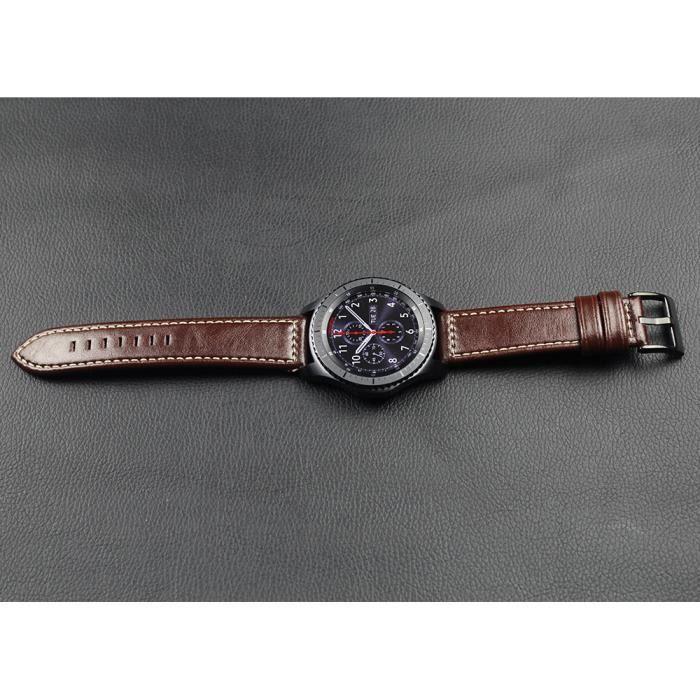 bracelet de montre Samsung Gear S3 Frontier Black Buckle White Wire Pointed C Strap Brown (Le fournisseur est marron foncé)