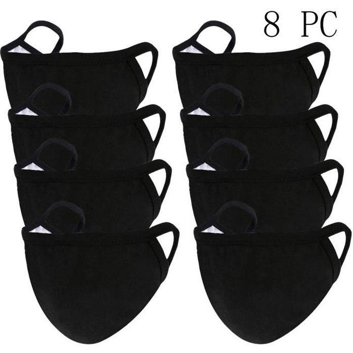 Masque de voyage De Tissu Réutilisable Lavable Visage Coton Noir 8Pc A