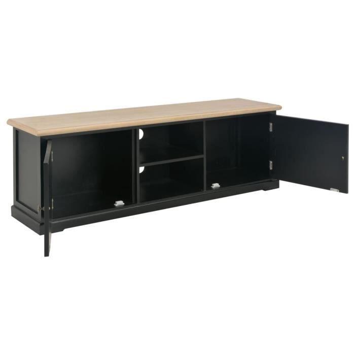 Meuble TV Moderne Noir 120 x 30 x 40 cm Bois-MEE