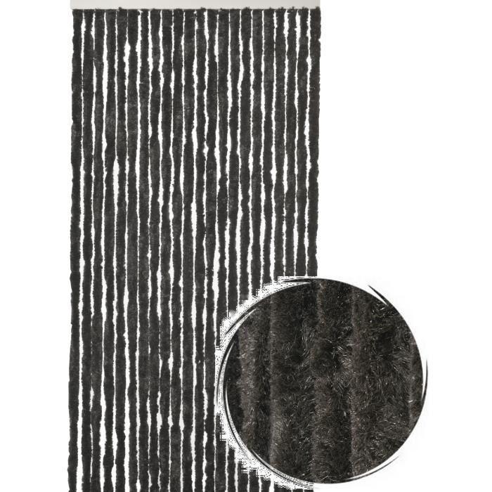Rideau de porte Chenille de qualité supérieure, Protection de vos espaces intérieurs, Anti-Insectes 90 x 220 cm Uni noir