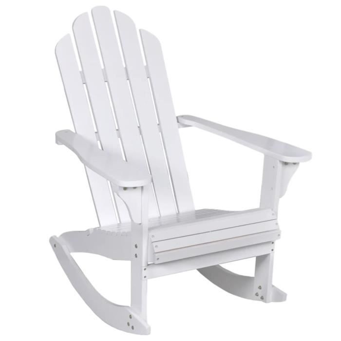 Magnifique - Fauteuil à bascule - Chaise de jardin Fauteuil de Jardin Bois Blanc