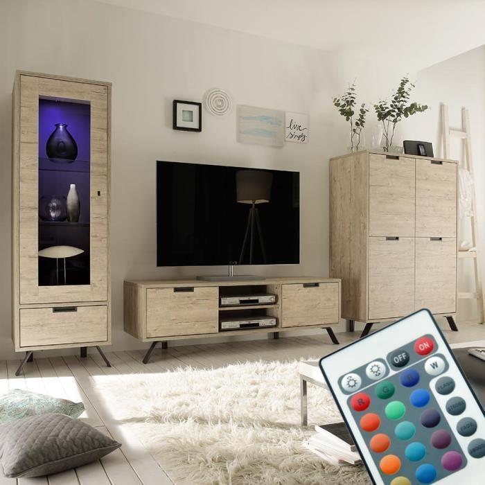 Ensemble meuble TV moderne couleur bois clair JACE Sans éclairage