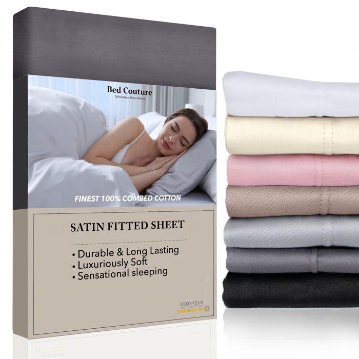 Drap Housse 100% Satin de Coton égyptien peigné - bonnet de 38cm. Tissage très fin, toucher doux et soyeux, qualité hôtel cinq