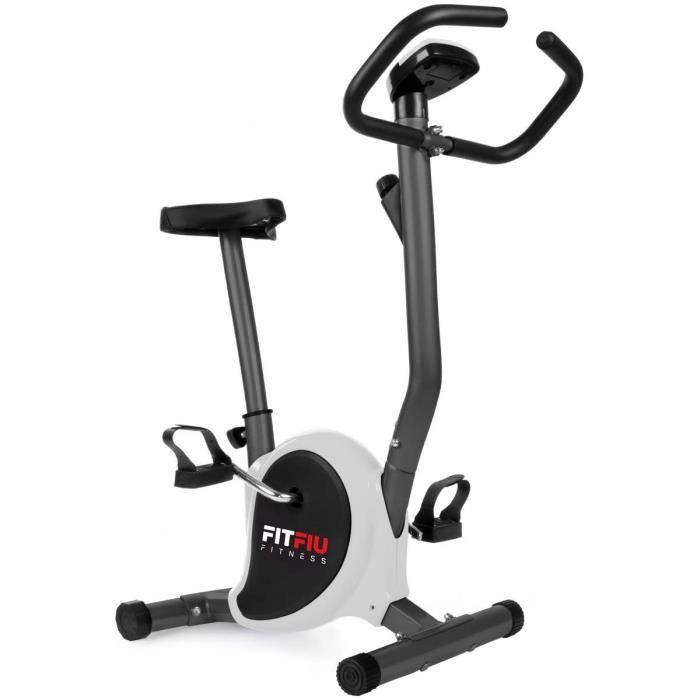 FITFIU Fitness BEST-100 - Velo d'appartement ultra-compact couleur grise, reglabe 8 niveaux et ecran LCD, Entraînement fitness tonif