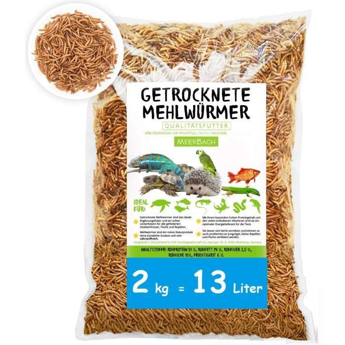 MeerBach & Rose vers de Farine Séchés- 2 kg = 13 L - Nourriture pour Poissons, Oiseaux Tortues, Hérissons, Rongeurs et Reptiles
