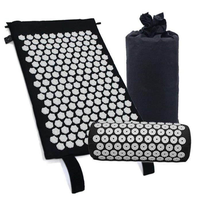 Tapis d'acupression et oreiller pour le soulagement de la douleur au dos - au cou et la relaxation musculaire,Noir