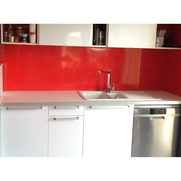 Crédence Aluminium Rouge H 35 cm x L 70 cm 1.5mm RAL 3020